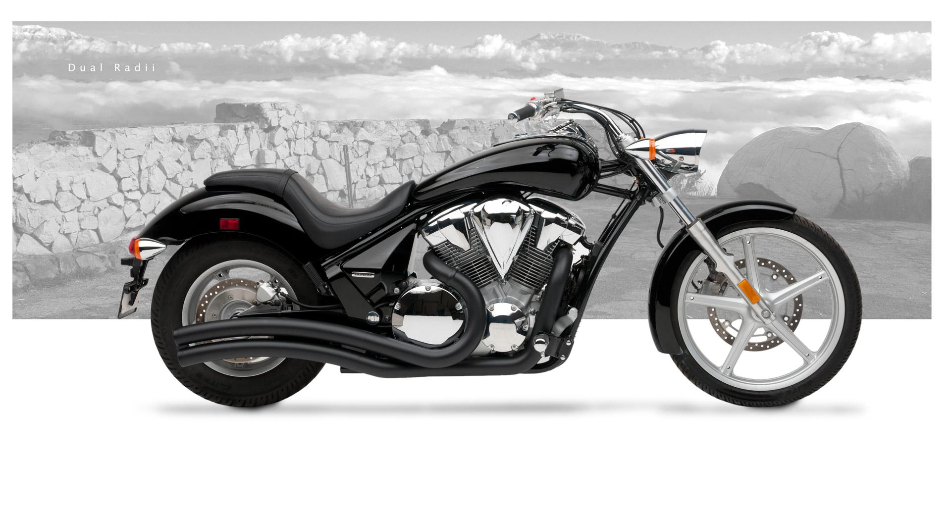 Honda vt 1300cs sabre motorcycle exhaust dual radius for Yamaha dealers in vt