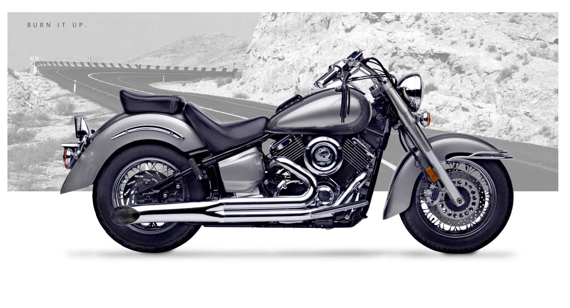 Yamaha V Star 1100 Motorcycle Exhaust - Sideburner Chrome | Hard-Krome
