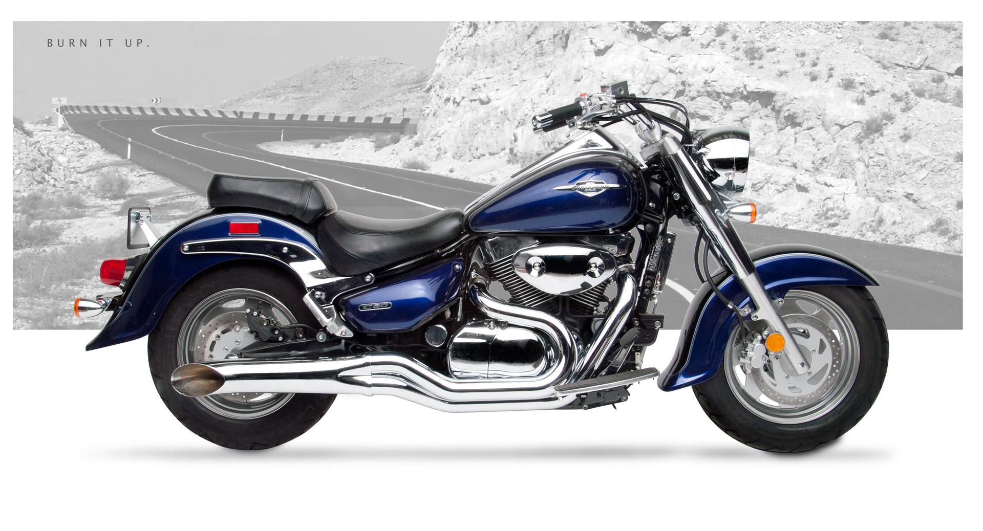 Suzuki C90 Motorcycle Exhaust - Sideburner Chrome | Hard-Krome