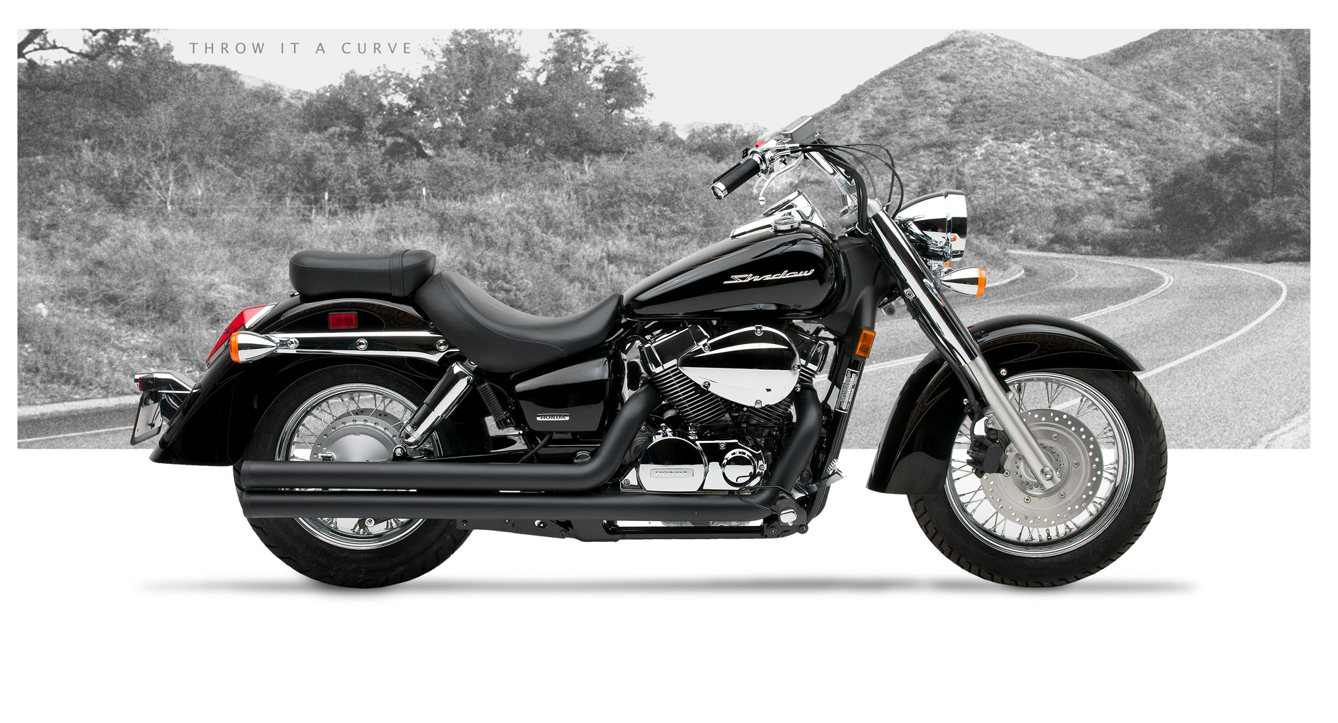 Honda Shadow Aero 750 Motorcycle Exhaust American Classic Ii Black Ceramic Hard Krome
